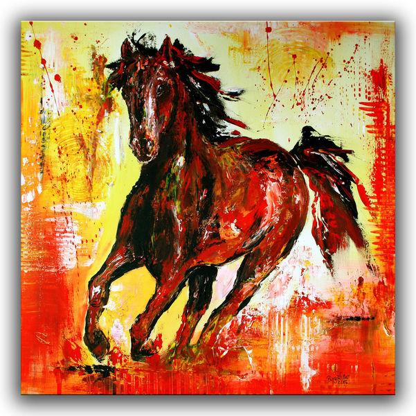 Pferde, Abstrakt, Gemälde, Tier malerei gemälde, Malerei,