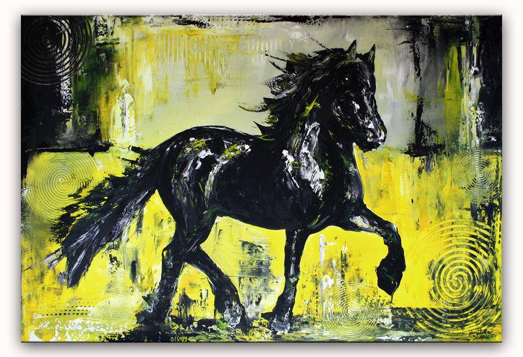 Schwarz, Moderne kunst, Pferde, Grau, Malerei, Abstrakt