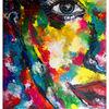 Abstraktes gesicht, Porträt frau, Gelb blau rot, Portrait fluid art