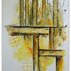 Malerei abstrakt, Hochformat, Abstrakte kunst, Gelb organge