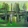 Grün, Acrylmalerei, Gemälde, Gelb