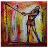 Golfspielerin, Acrylmalerei, Rot gelb weiß, Modern
