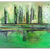 Grün, Gemälde, Stadt, Acrylmalerei