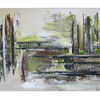 Abstraktes acrylgemälde, Malen, Grau grün, Sturm