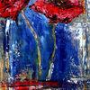 Malerei, Rot, Blumen, Blau