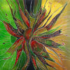 Gemälde, Abstrakte acrylmalerei, Grün rot gelb, Malen