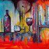 Weinflasche, Abstrakt, Acryl gemälde, Gemälde