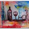 Küche, Wein, Flasche, Gemälde