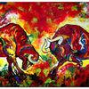 Bulle, Malerei, Rot, Zwei wilde stiere