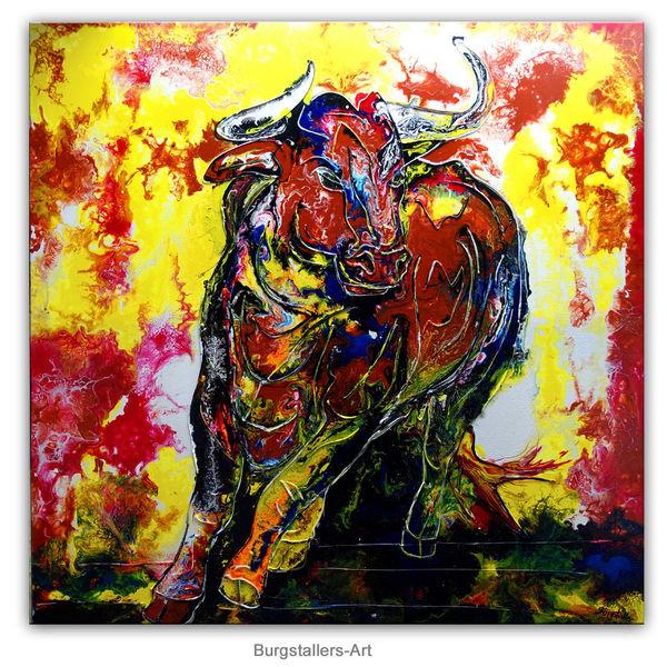 Tiere, Acrylmalerei, Malen, Malerei, Wilder stier, Bulle