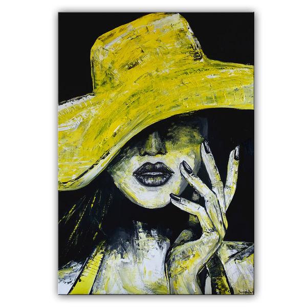 Frau, Moderne malerei, Acrylmalerei, Hut, Wandbild, Malerei