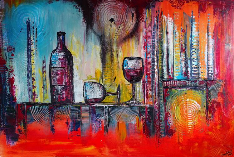 Acrylmalerei, Moderne kunst, Weingläser, Stillleben, Abstrakt, Acryl gemälde