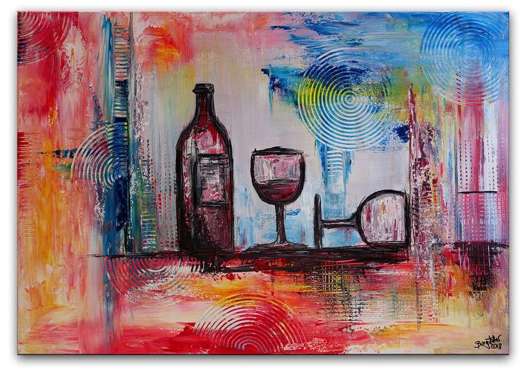 Flasche, Gemälde, Malen, Acrylmalerei, Weingläser, Abstrakt