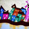 Haschplätzchen, Rosa brille, Stadt, Malerei