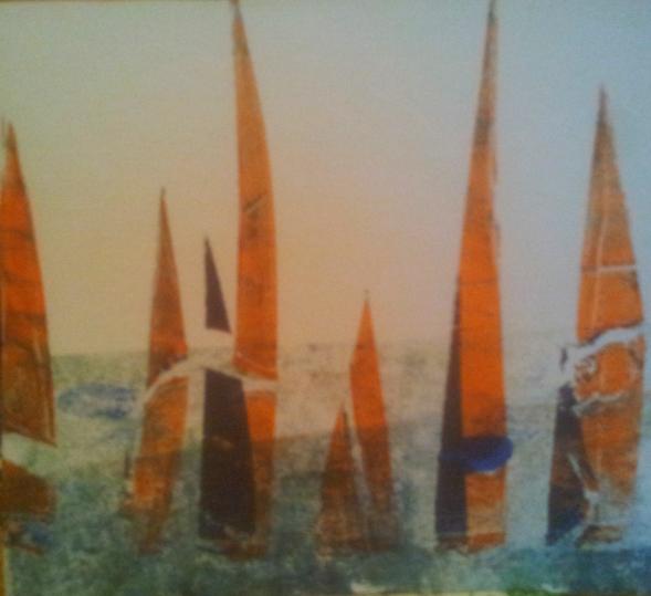 Wasser, Blau, Orange, Druckgrafik