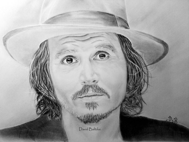 Malerei, Jonny depp, Portrait, Bleistiftzeichnung, Depp