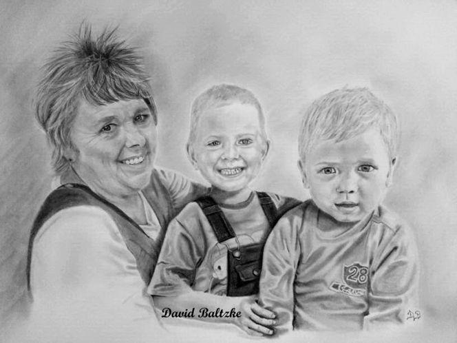 Bleistiftzeichnung, Familie, Malerei