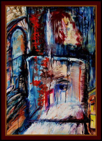 Malerei, Ölmalerei, Abschied, Bühne