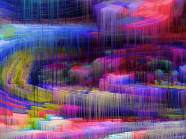 Digitale kunst, Ankunft, Stadt, Morgen