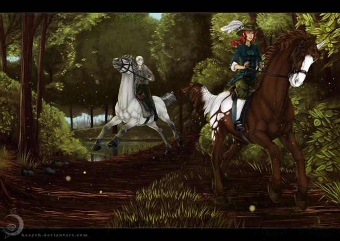 Fantasie, Deviantart, Weiher, Mädchen, Pferde, Querfeldein