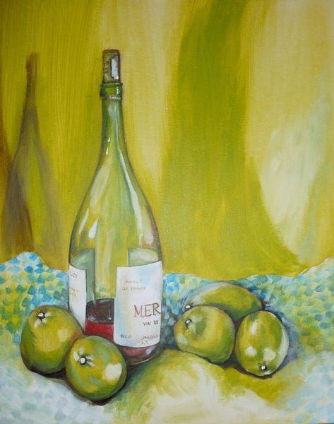 Weinflasche, Stillleben, Wein, Apfel, Flasche, Tuch