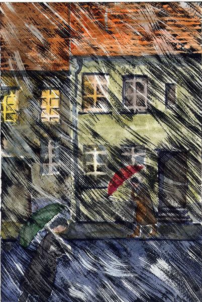 Fenster, Regen, Abend, Häuser, Mischtechnik, Wind