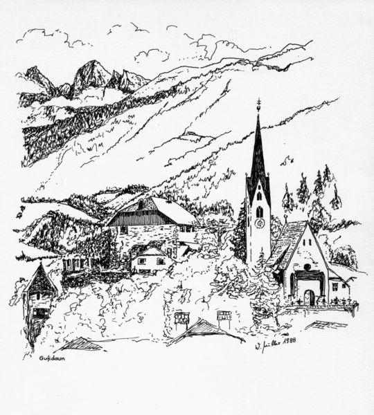 Tuschmalerei, Häuser, Zeichnung, Feder, Federzeichnung, Kirche