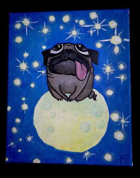 Mops, Stern, Mondkrater, Sternschnuppe, Mond, Milchstraße