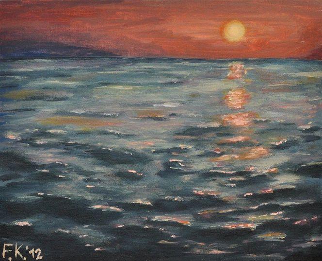 Wasseroberfläche, Meer, Abendstimmung, Nordsee, Sonnenuntergang, Welle
