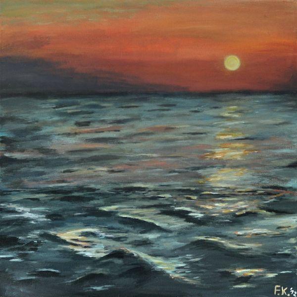 Meer, Wasseroberfläche, Abendstimmung, Nordsee, Sonnenuntergang, Wasser