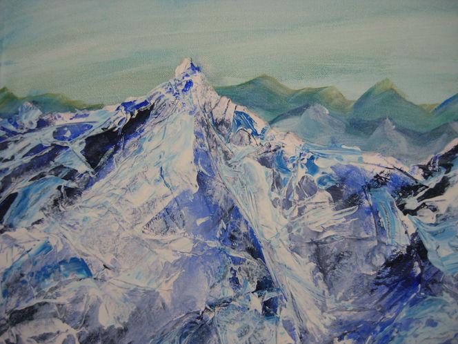 Berge, Malerei, Letzten, Ausschnitt, Erinnerung