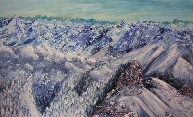 Winter, Berge, Landschaft, Schnee, Panorama, Malerei