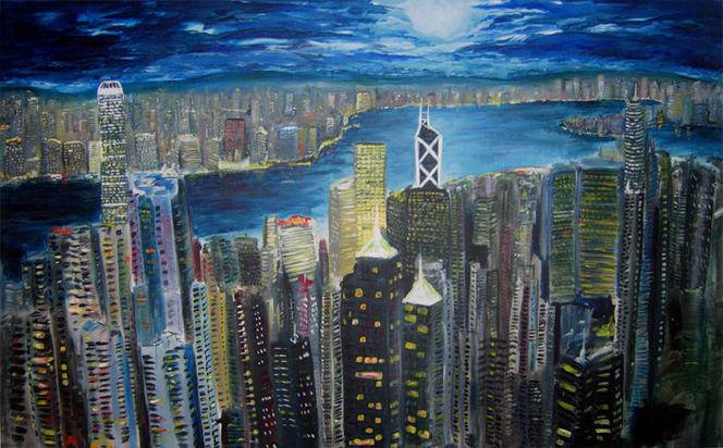 Stadt, Hongkong, Malerei, Architektur