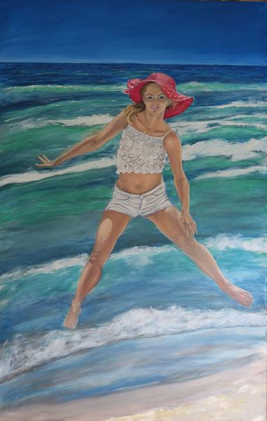 Meer, Thailand, Mädchen, Strand, Malerei