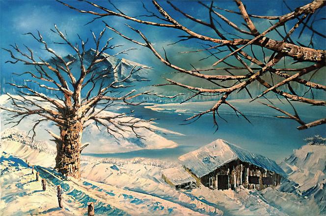 Landschaft, Baum, Schnee, Hütte, Malerei, Spachtel