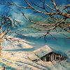 Baum, Schnee, Hütte, Landschaft