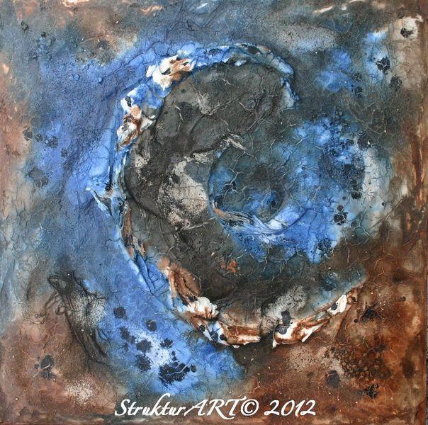 Zeitgenössische kunst, Tusche, Blau, Pigmente, Marmormehl, Malerei