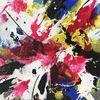 Kohlezeichnung, Expressionismus, Acrylschüttungen, Magenta