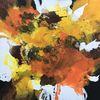 Marmormehl, Abstrakt, Acrylschüttungen, Orange