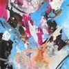 Acrylmalerei, Zeitgenössische kunst, Magenta, Türkis