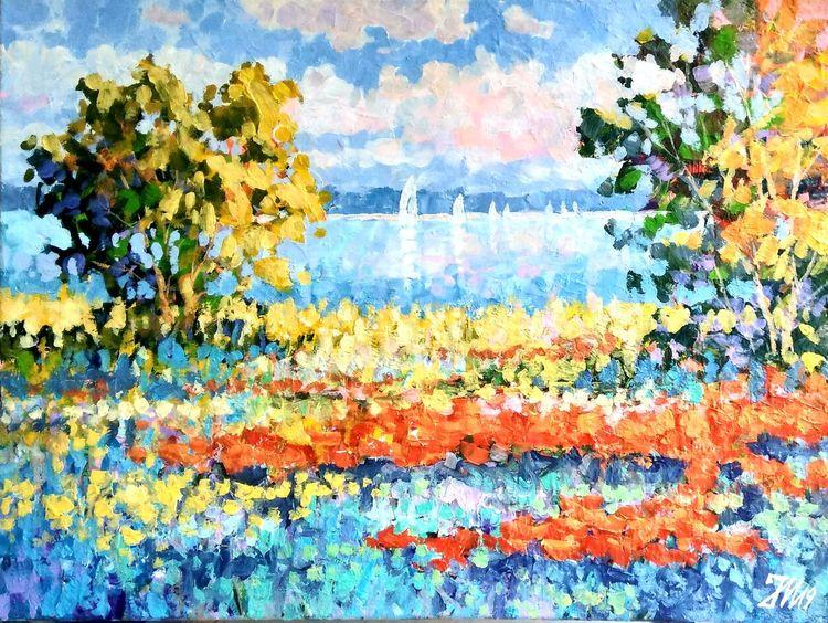 Natur, Seenlandschaft, Bunt, Fluss, Am see, Malerei