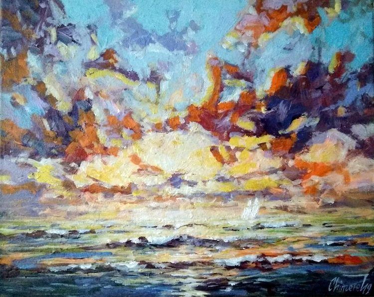 Seenlandschaft, Sonnenuntergang, Ostsee, See, Malerei