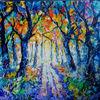 Waldweg, Landschaft, Wald, Malerei