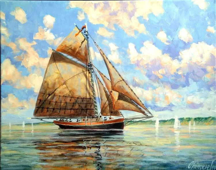 Ostsee, Schiff, See, Fischerboot, Malerei