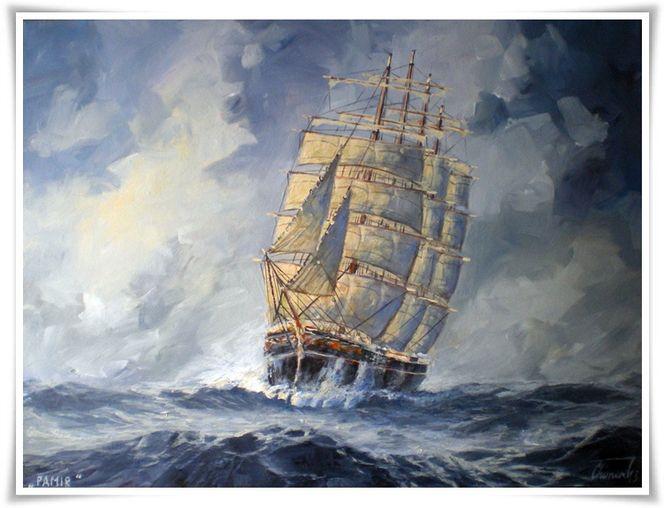 Malerei, 2013, Segelschiff,