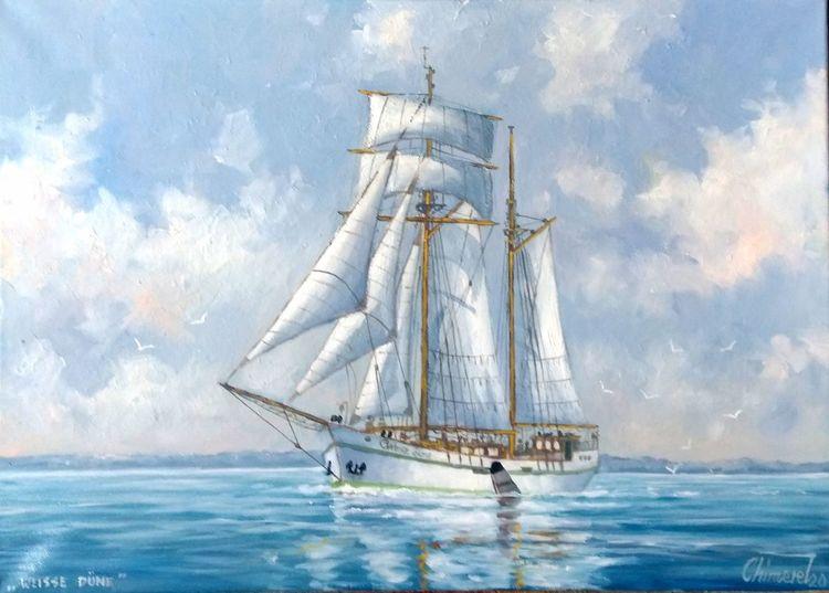 Ostsee, Segel, Weisse düne, Schiff, Segelschiff, Malerei
