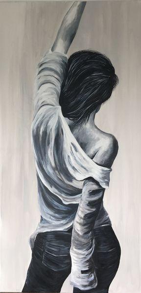 Frau, Menschen, Rücken, Malerei, Sieg