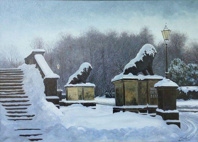 Löwe, Ölmalerei, Landschaft, Winter, Schloss, Malerei
