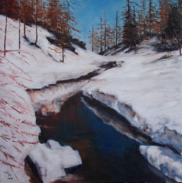 Schnee, Landschaft, Impressionismus, Frühling, Scheeschmelze, Natur