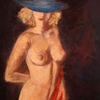 Gegenständliche, Hut, Malerei, Frau